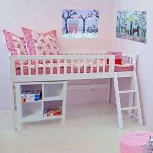 Kindermöbel bett  Hochbett / Halbhohes Bett CHALET, weiß, Holz, 90x200cm, Höhe ...