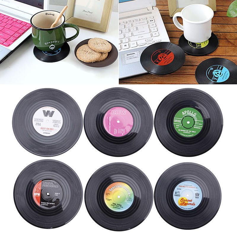 6pcs Round Vinyl Coaster Groovy Record Cup Drinks Holder Mat Placemat Tableware Tea Holder Coasters Drink Coasters