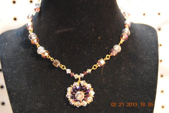 Swarovski Amethyst and Silver Necklace by JEWELRYBYTWYLA on Etsy, $24.95