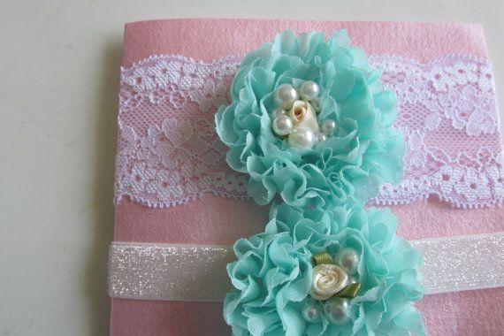 Turquoise Bridal Garter White Lace Garter Wedding by LadyBugSewn