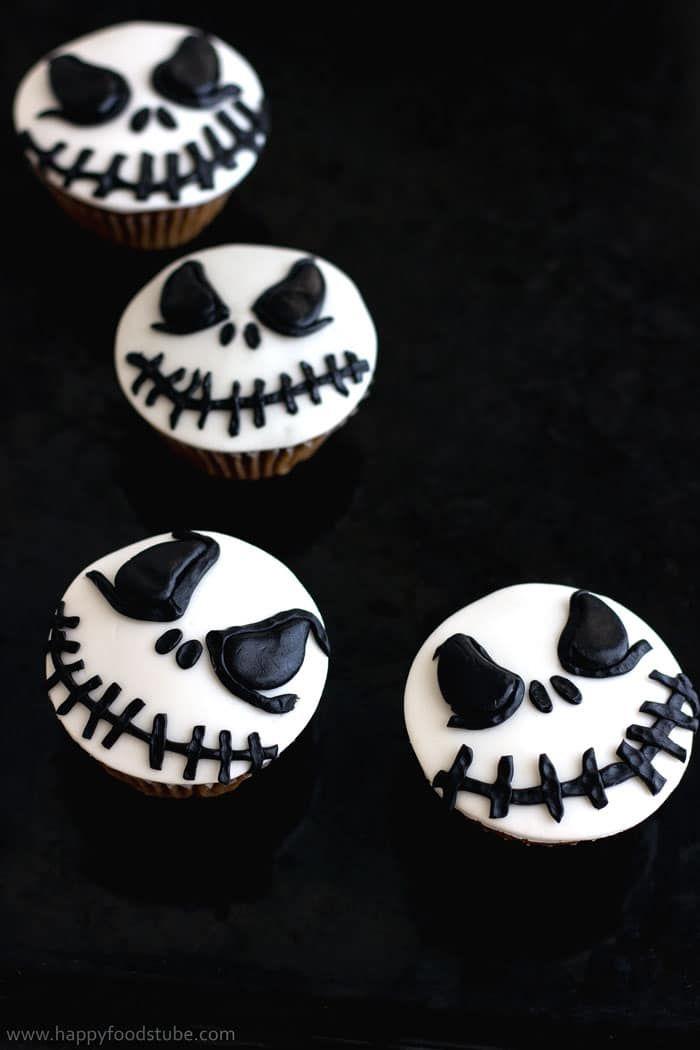 Halloween Jack Skellington Cupcake Toppers (Video Tutorial - cupcake decorating for halloween