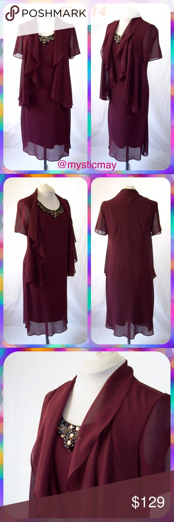 Piece burgundy chiffon jewel collar jacket dress beautifully