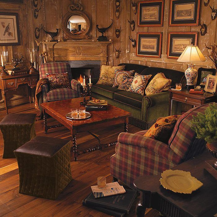 Image result for hunting lodge decor | Cabin living room ...