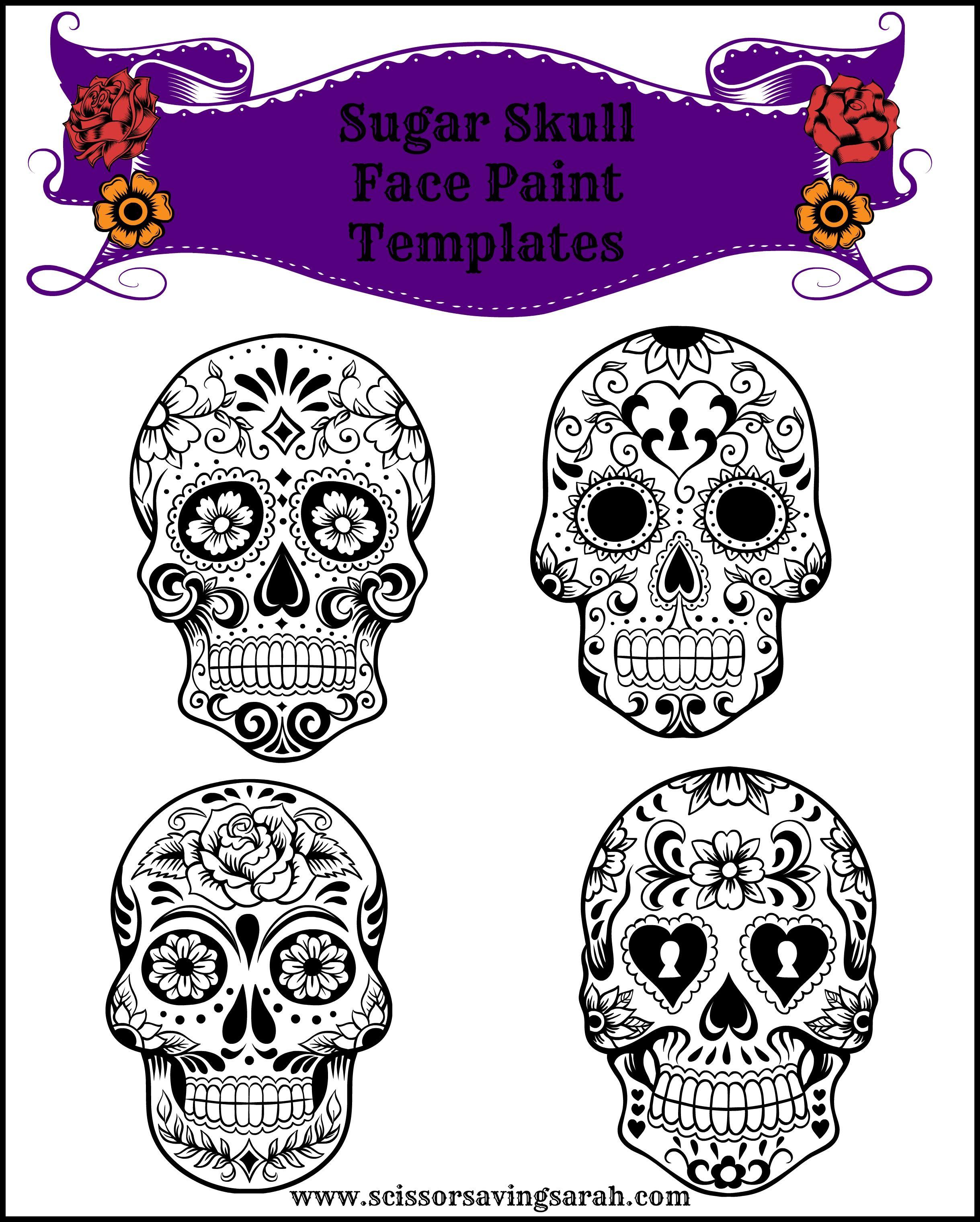 Sugar Skull Face Paint Templates - use any Halloween face paint kit ...