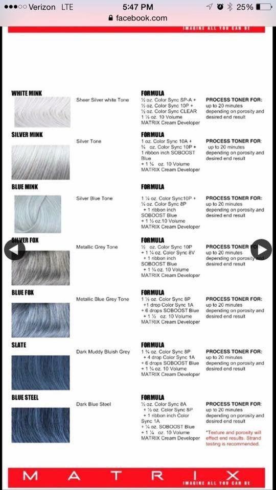 Silver Formulas Hair Nails Beauty Hair Hair Color Formulas