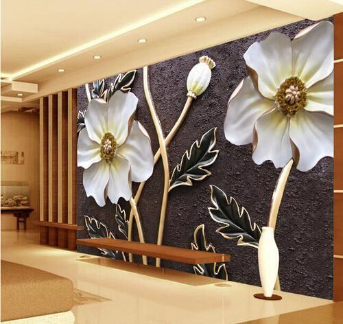Embossed White Fl Wallpaper For Walls 3 D Large Photo Murals Murales De Pared Art Wall Decor Custom Size