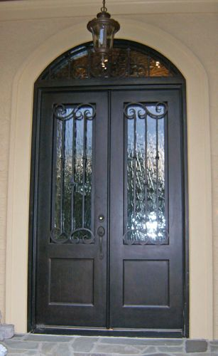 Custom, Wrought Iron, Double Entry Door With Arch Top Transom.