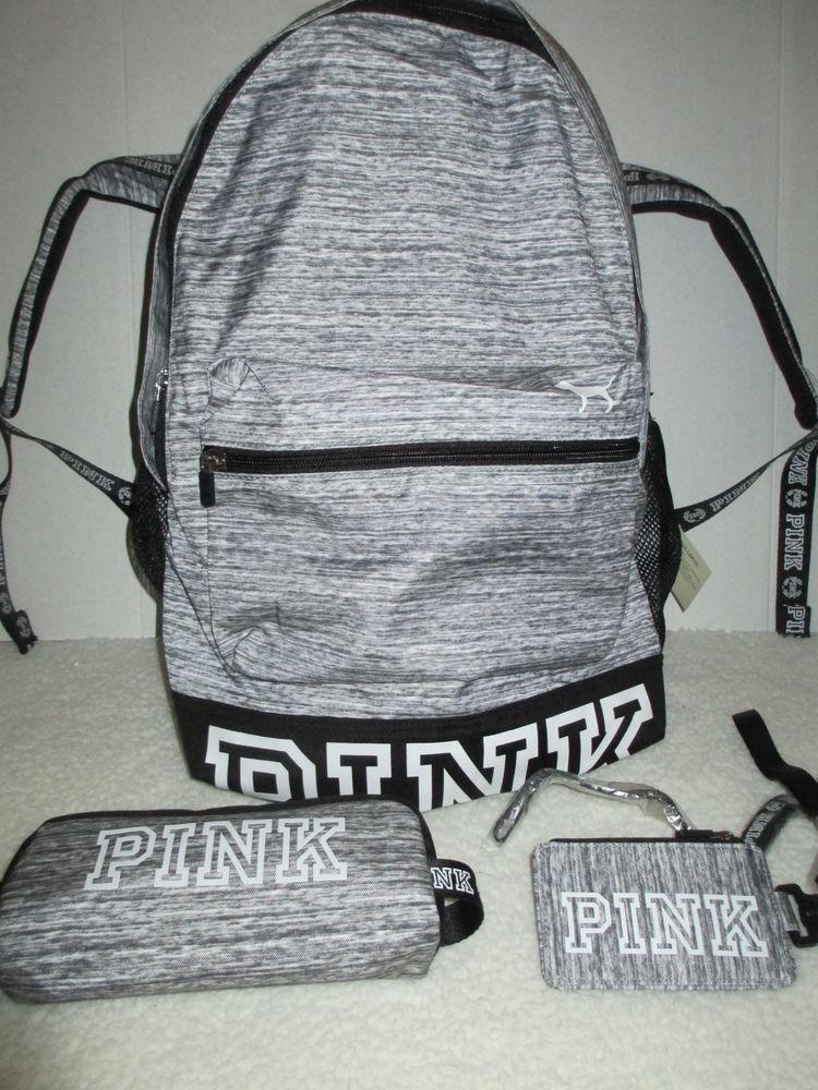 de754586961e Victoria s Secret Pink Campus Backpack Book Bag Lanyard Pencil Case Gray  New