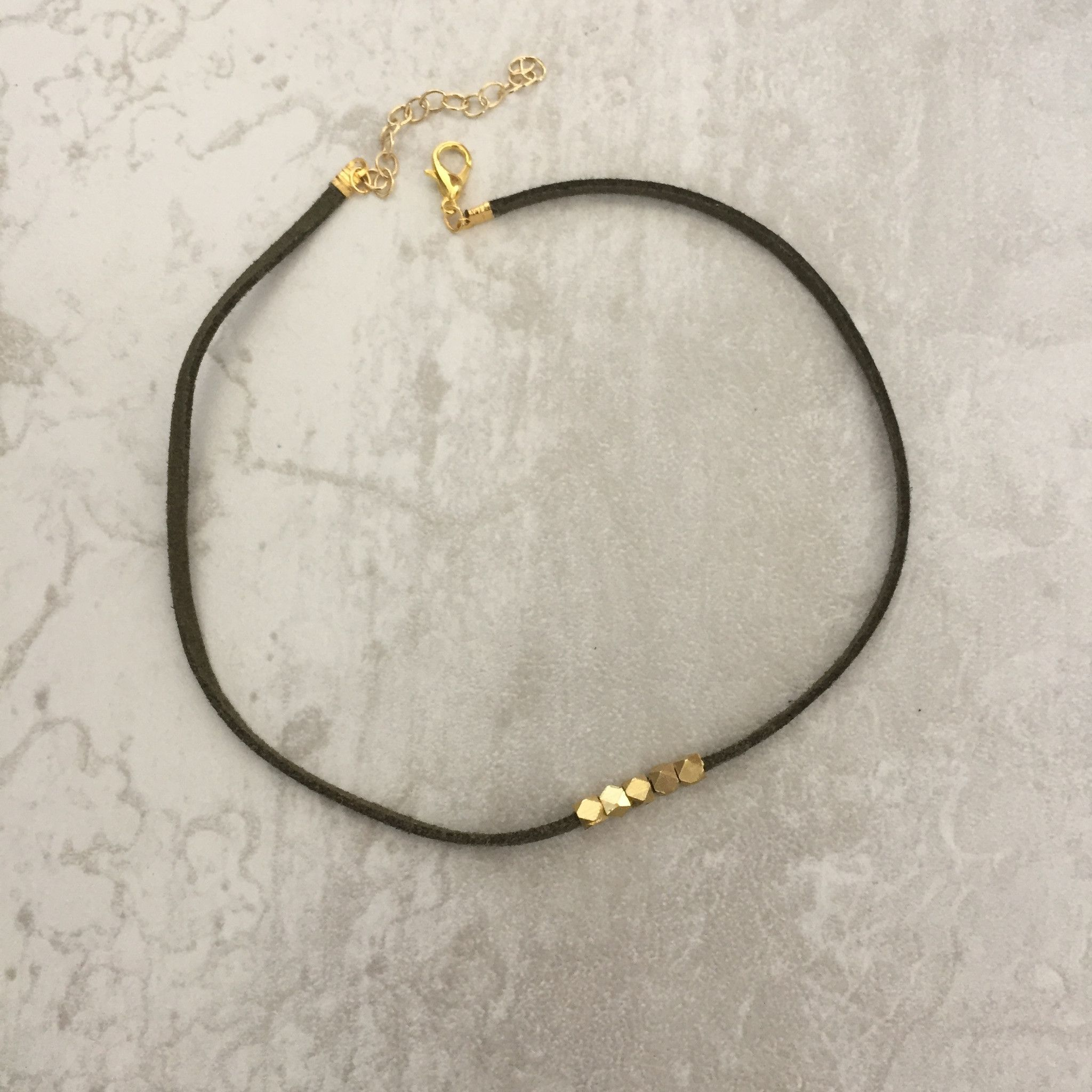Suede Olive Beaded Choker