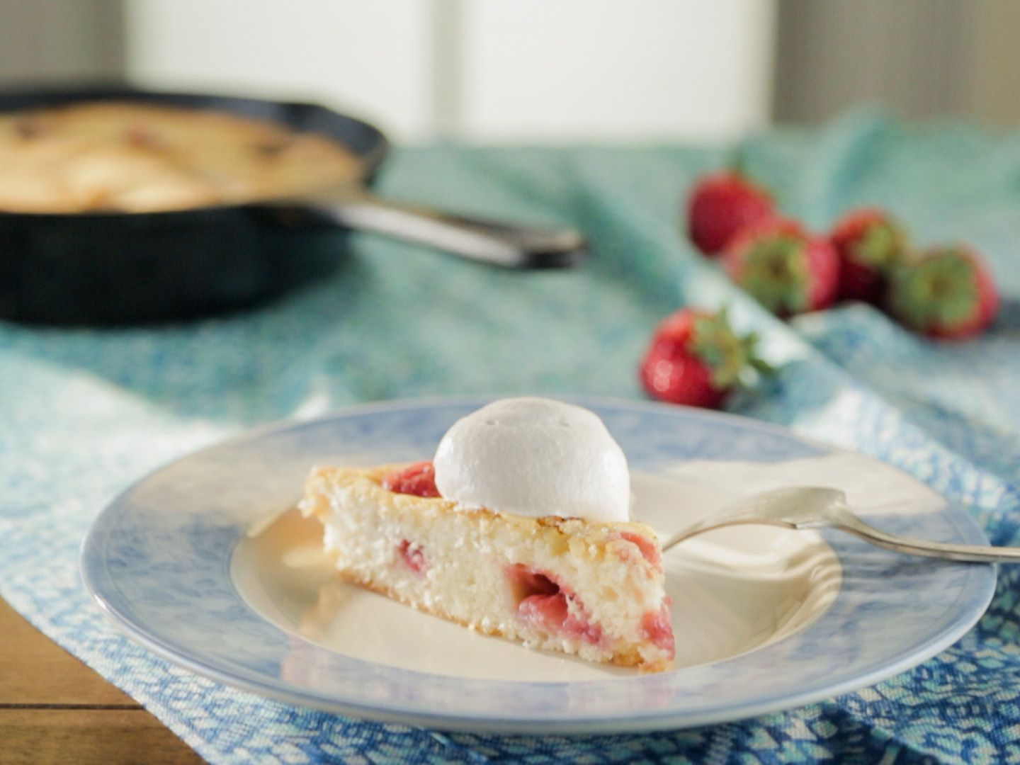 Buttermilk Strawberry Skillet Cake with Strawberry Whipped Cream and ...