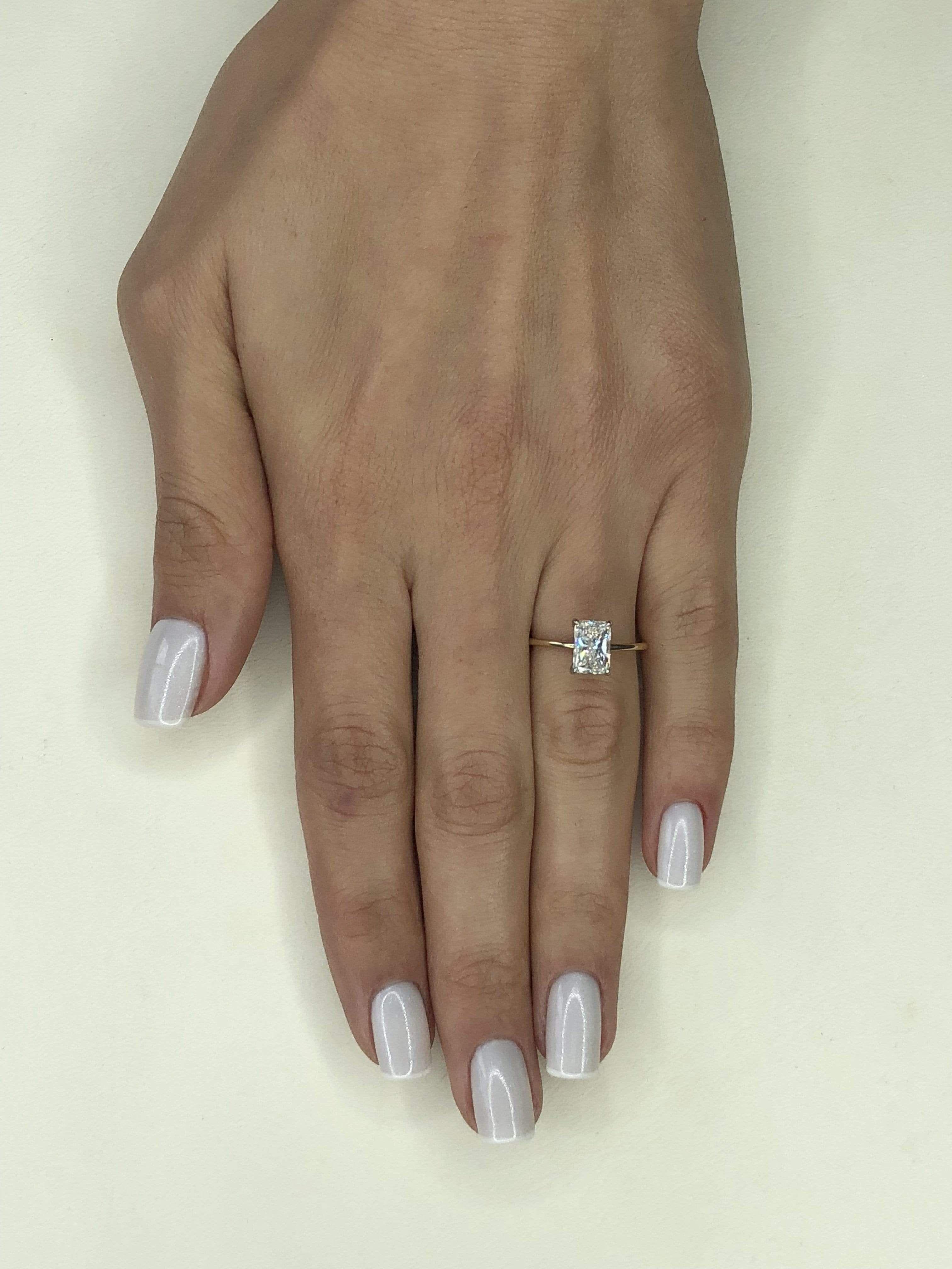 1 Carat Radiant Cut Diamond Engagement Ring - 8.75