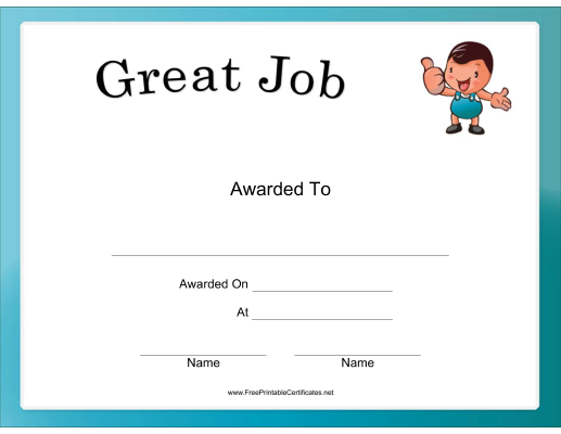 this great job certificate includes a little guy giving a big thumbs
