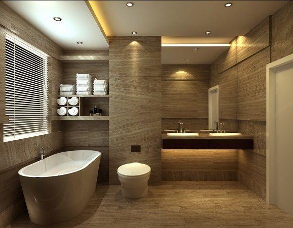 Banheiro moderno  Decoração  Pinterest  Banheiros modernos, Banheiros e Mo -> Banheiro Moderno Marron