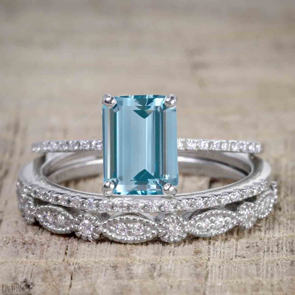 Art Deco 2 Carat Emerald Cut Aquamarine and Diamond Trio Wedding Bridal Ring Set White Gold £529.00 #aquamarineengagementring