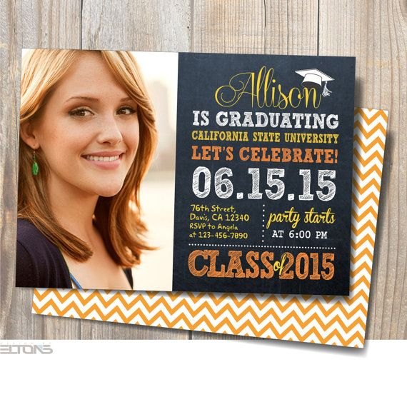 graduation invitation graduation announcement chalkboard double