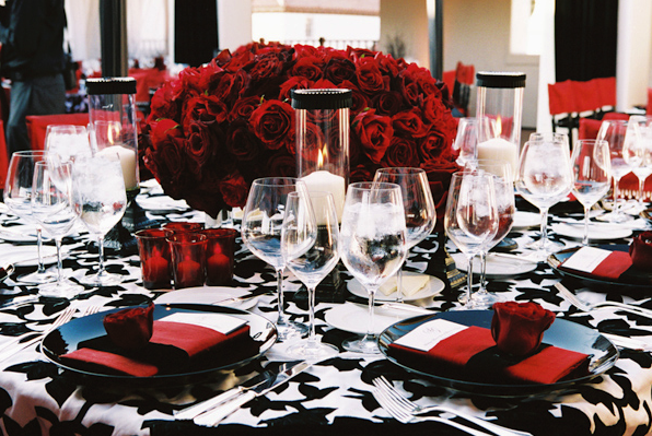 To the bride and groom red silver white black wedding inspirations wedding centerpiece - Red and silver centerpiece ideas ...