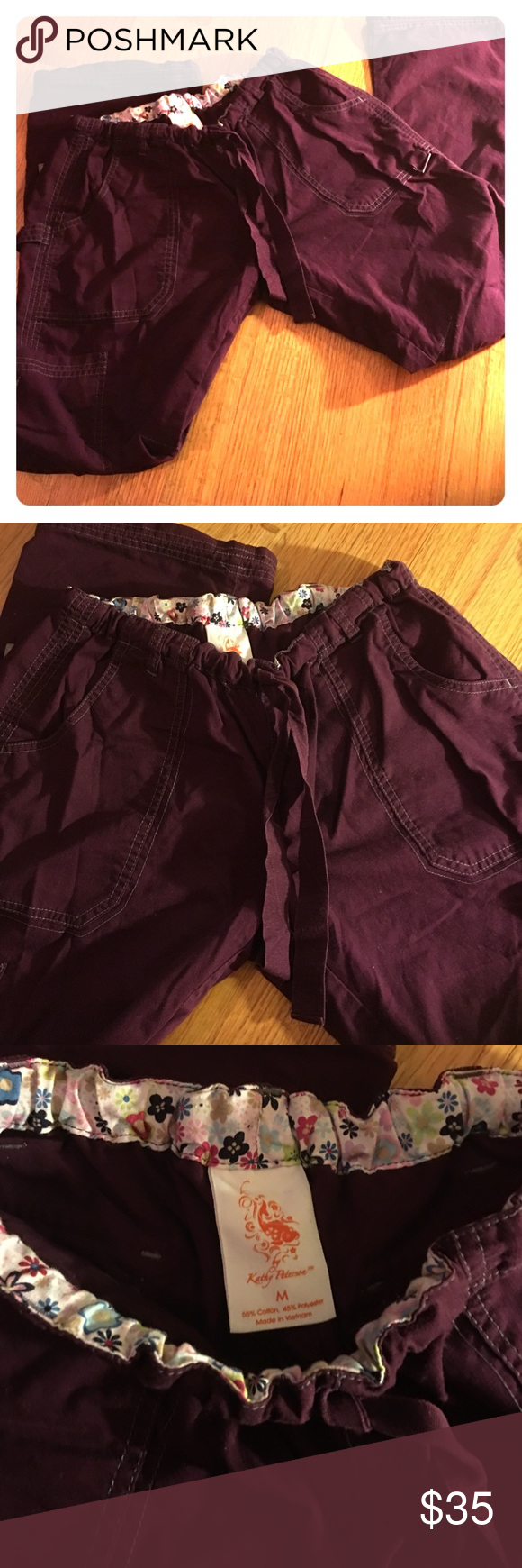 Kathy Peterson nsg scrub pants KOI Maroon/deep purple color scrub pants. These are KOI brand-high quality nsg brand. NWOT. Multiple pockets, drawstring waist and drawstring at end of legs. Very cute and stylish🌟 Koi Pants Straight Leg