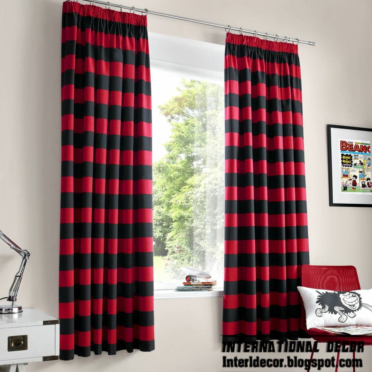 Black Stripe Curtains Red Curtains Red And Black Striped Curtain And Window Treatments