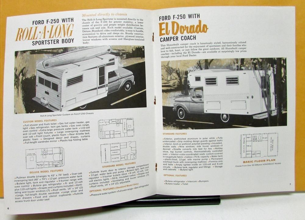 36814baaf7a2 1963 Ford Truck Model Condor Econoline F 250 Recreation Fleet Sales Roll  Along Sportster seems to be the ticket... Brochure