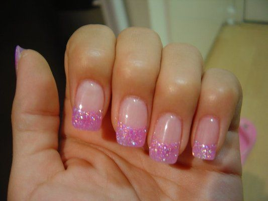 Pink French Manicure Nails Glitter French Manicure Pink Nails Pink Tip Nails