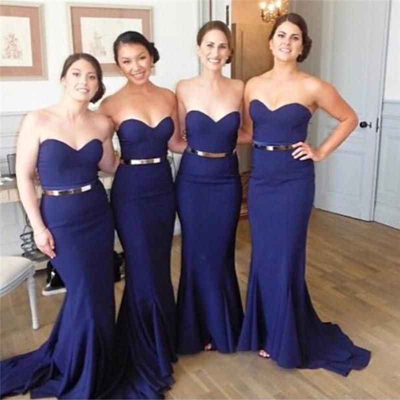 Find More Bridesmaid Dresses Information About 2016 Navy Blue Plus Size Bridesmaids Sweetheart Mermaid
