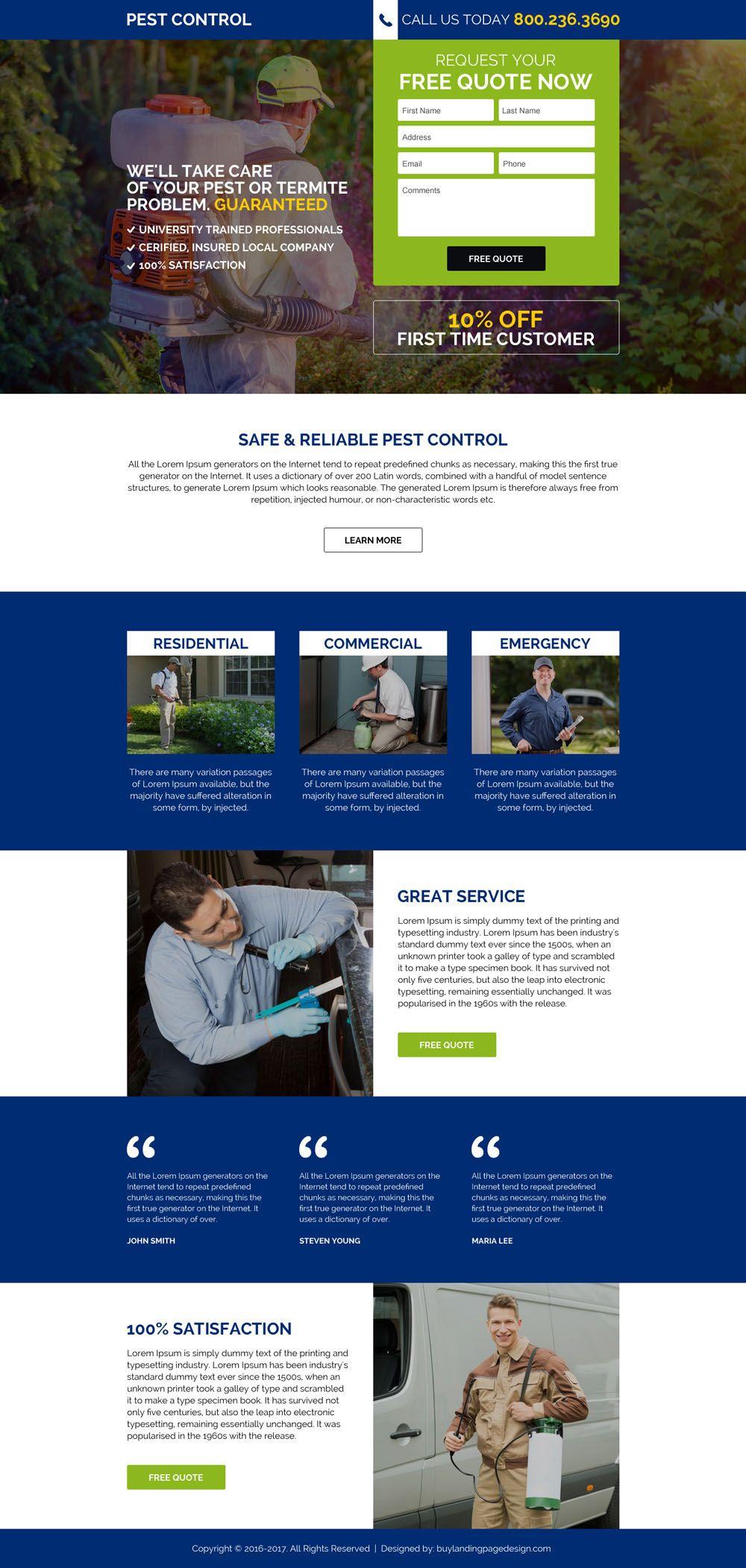 Commercial Pest Control Service Responsive Landing Page Design Pest Control Termite Problem Pests