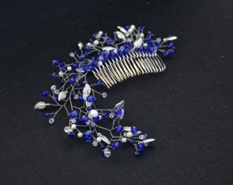 Something Blue Hair Comb Royal Blue Bridal Comb Blue Wedding