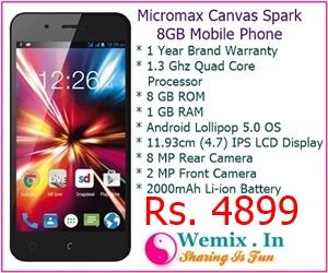 Micromax Canvas Spark 8GB Mobile Phone Rs 4899