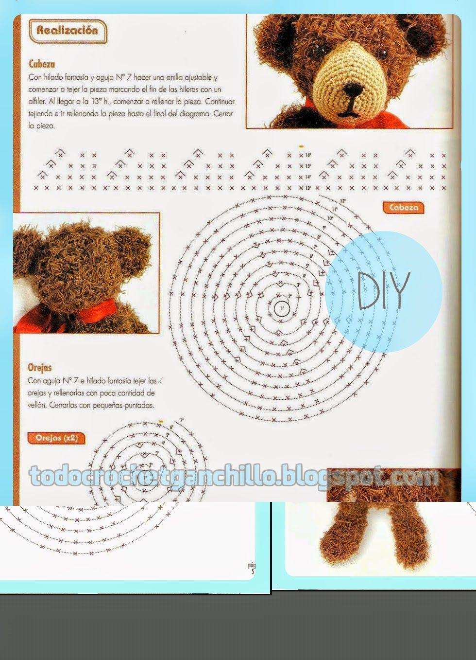 Atractivo Patrón De Crochet Carenado Oso Ornamento - Manta de Tejer ...