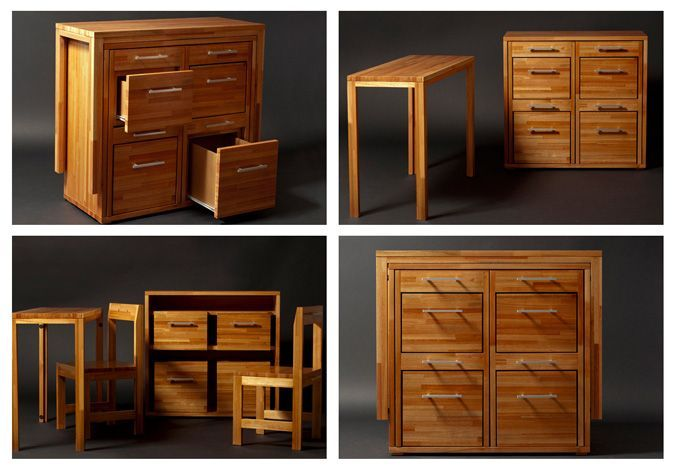two in one furniture. The Ludovico Chest Is Made Of High Quality Eucalyptus Wood, And Allows Storing A Table, Two Chairs Little In One Compact Furniture
