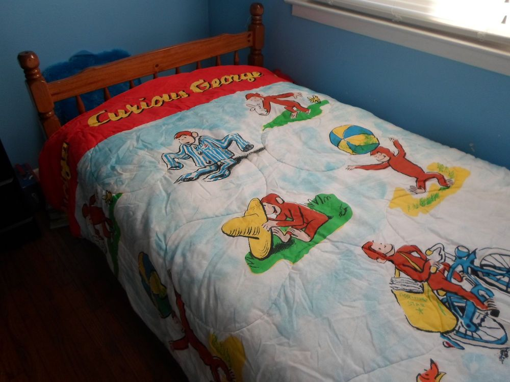 Vintage Curious George Bedding Twin Size Kids Comforter Blanket