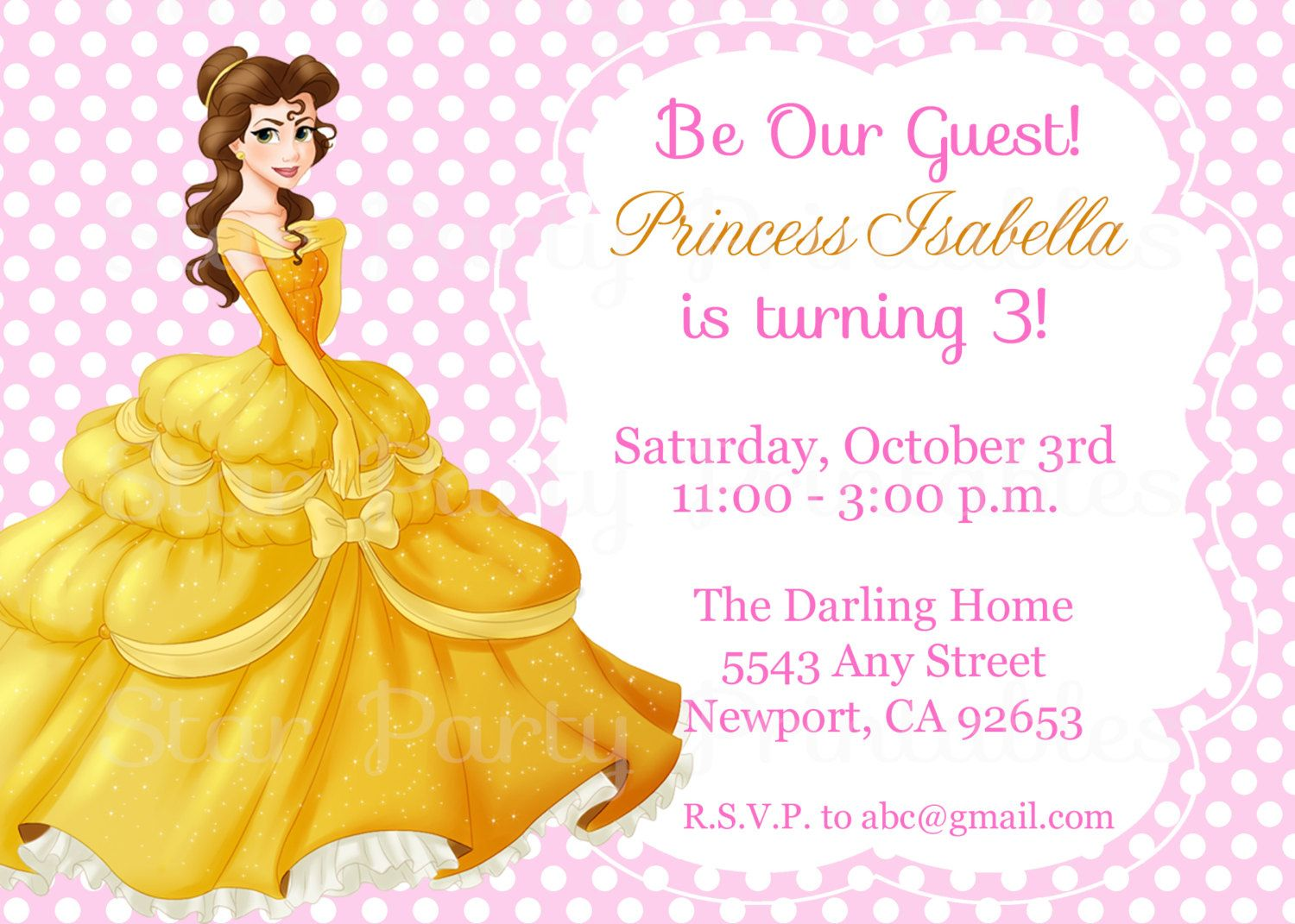 Princess Belle Beauty The Beast Invitation Kids Birthday Party Invite By StarPartyPrintables