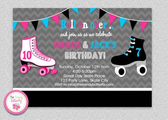 Siblings Roller Skating Birthday Invitation Boys Girls