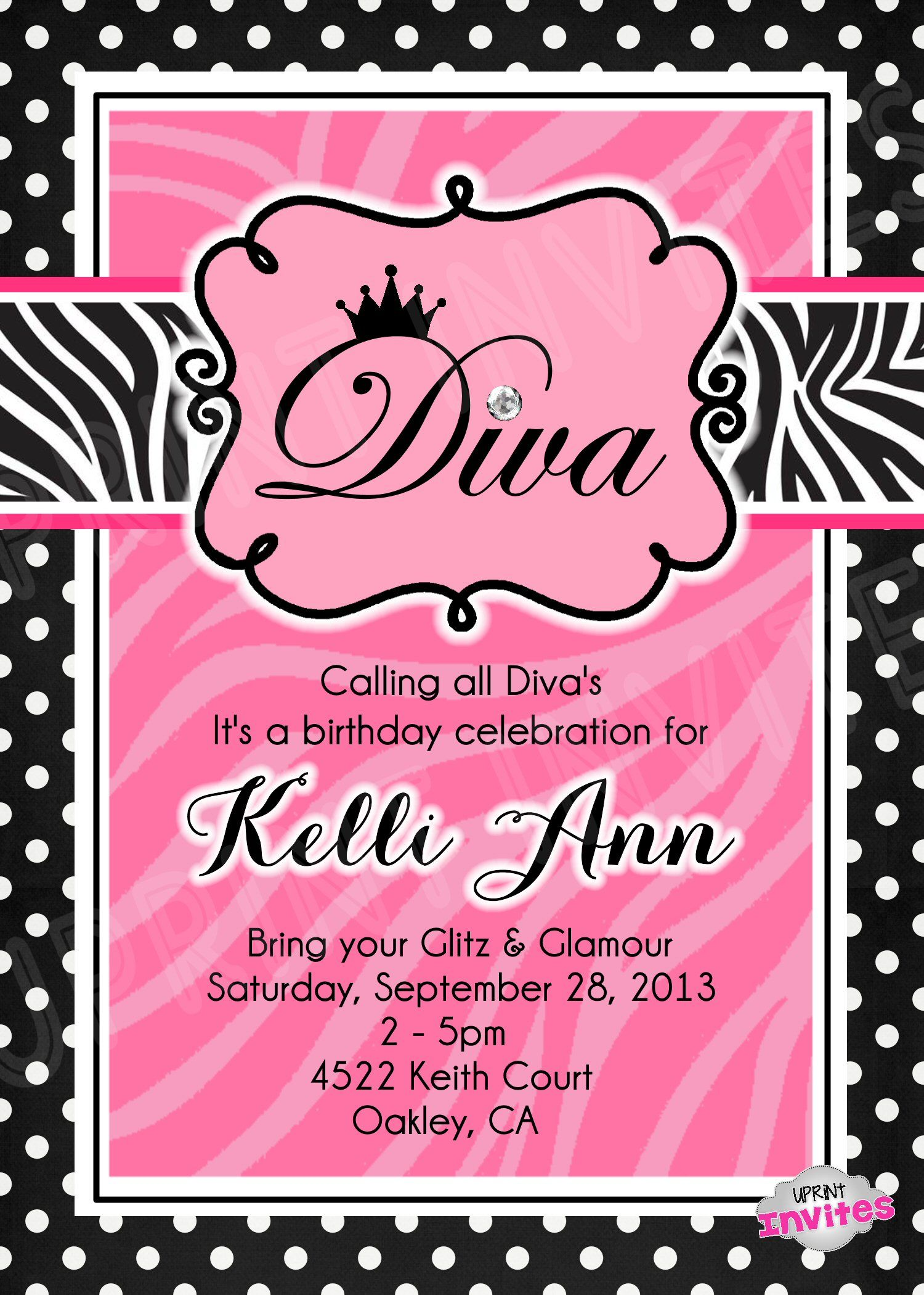 Diva Invitation Template $15.00 www.facebook.com/uprintinvitations ...