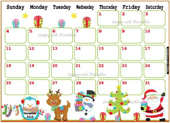 Printable Calendar December 2016 - December planner - DIY Planner - countdown calendar template