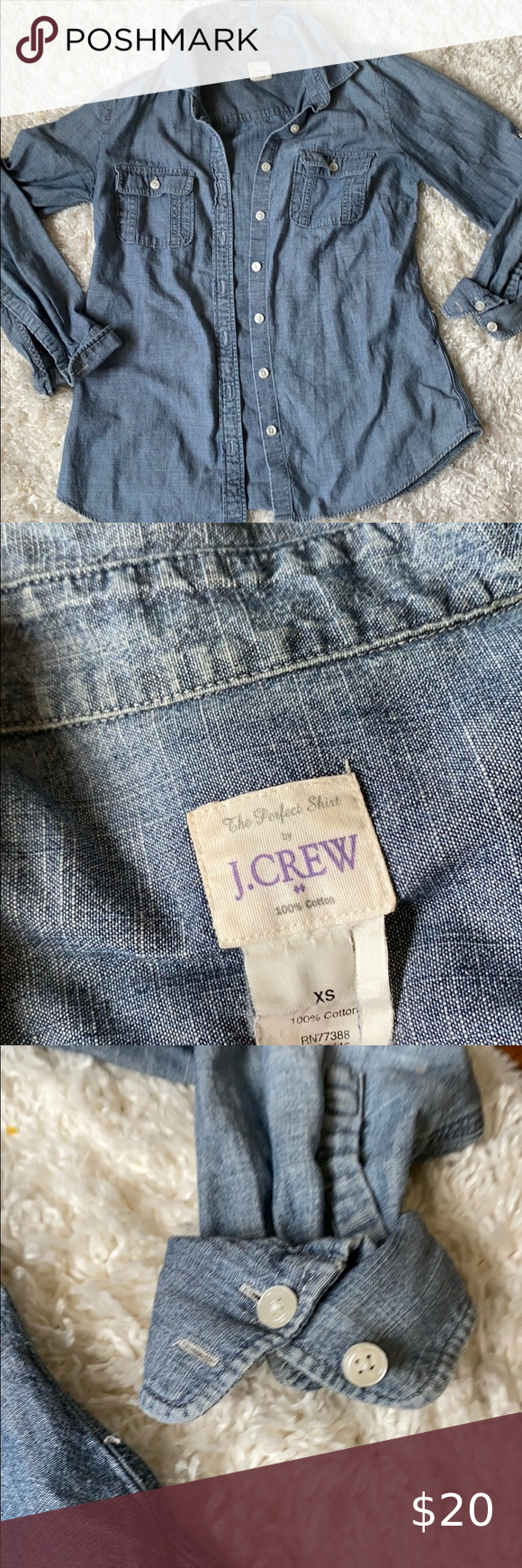 J. Crew blue Jean button up shirt xs J. Crew Blue jean material Xs Offers and bundles welcome J. Cre