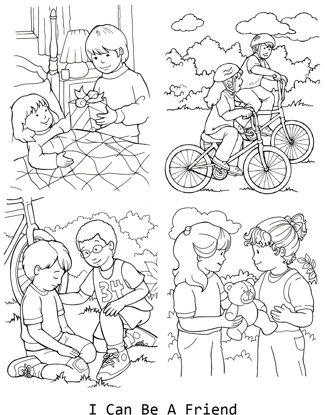 I can be a friend coloring page for lesson 33 LDS Primary