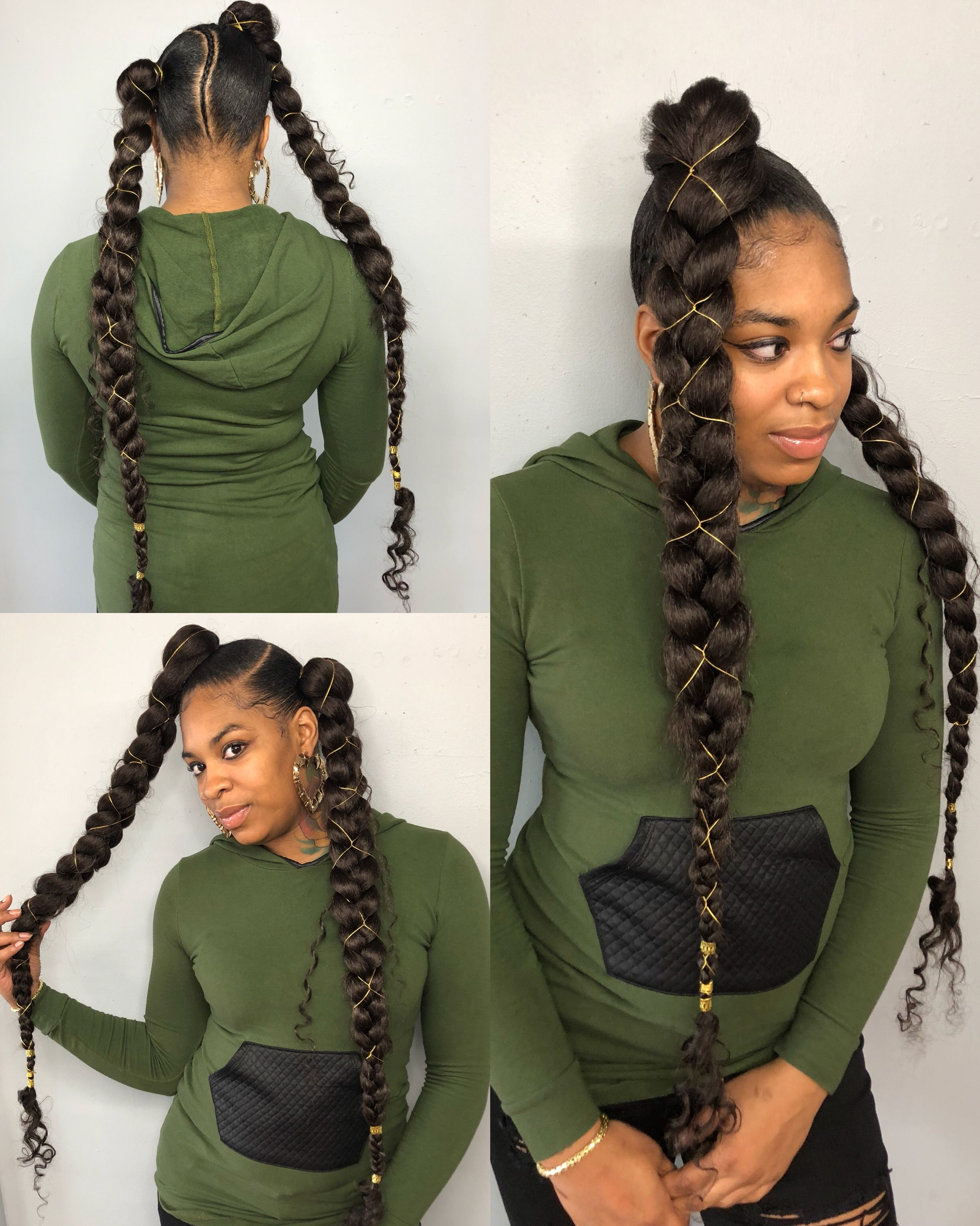 two jumbo goddess braids for a goddess queen weaves by hollywood