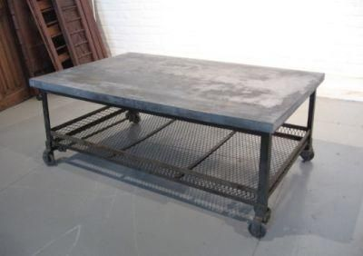 oversized galvanized merchantile metal coffee table (silver