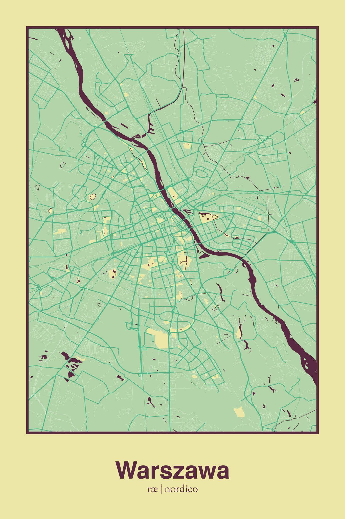 Warsaw, Poland Map Print | Poland | Pinterest | Poland map, Warsaw ...