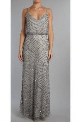 11c5d882278 Adrianna Papell Art Deco Long Blouson Dress Slate Silver Petite ...