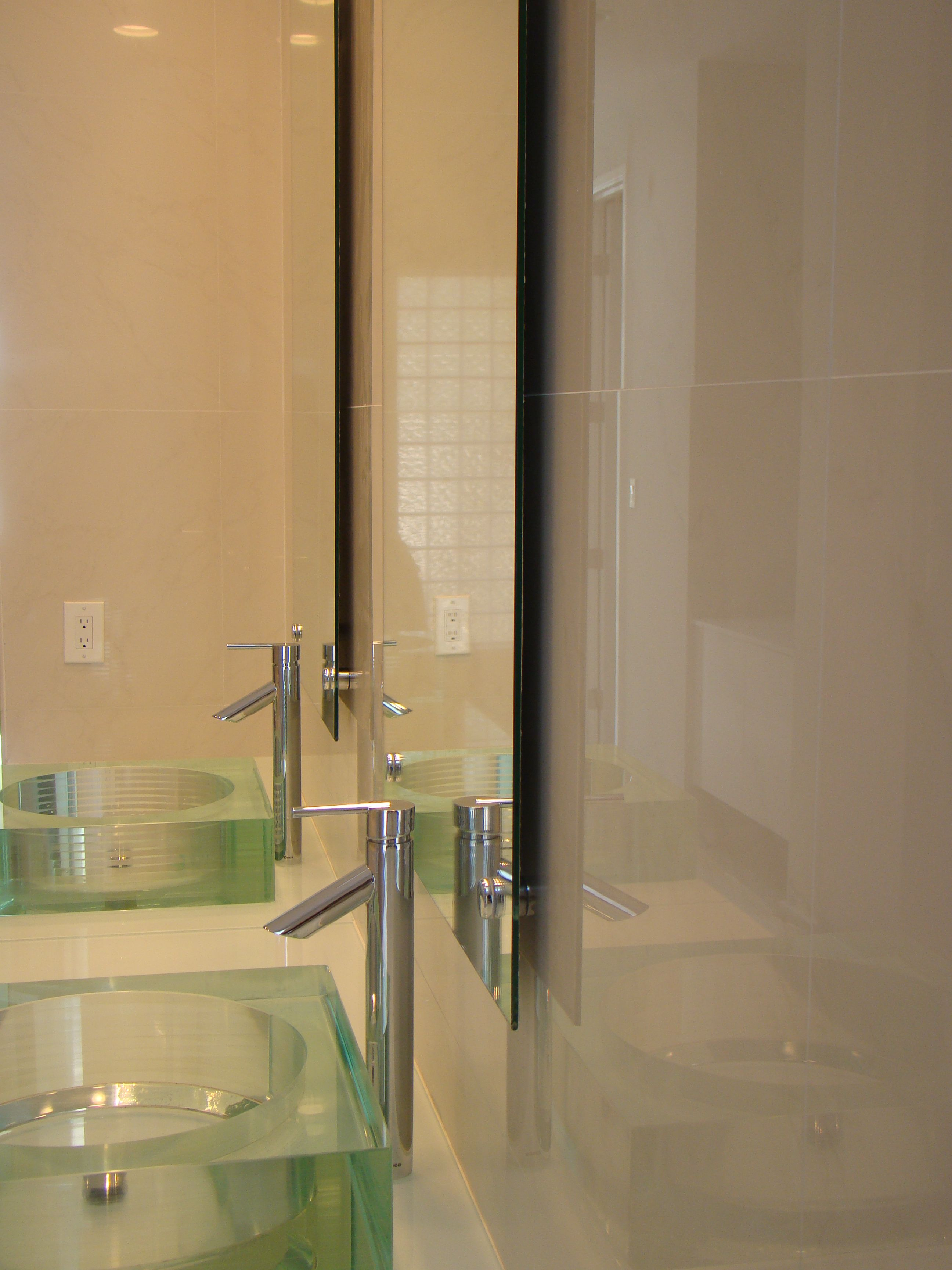 Bathroom Frameless Mirrors Frameless Mirrors With Stand Offs Residential Glass Applications
