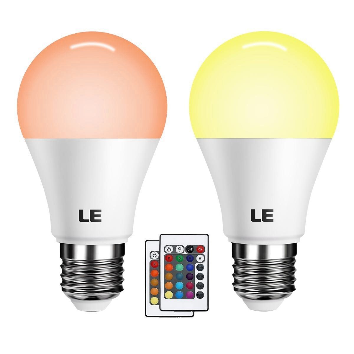 Le Color Changing Light Bulbs With Remote Dimmable Led Light Bulb E26 Screw Base Rgb Soft Warm White 40 Watt Equivalent 16 Color Choices For Home Decor Stage Party And More