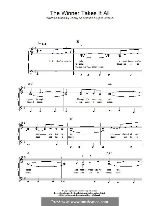 The Winner Takes It All Abba With Images Sheet Music Piano