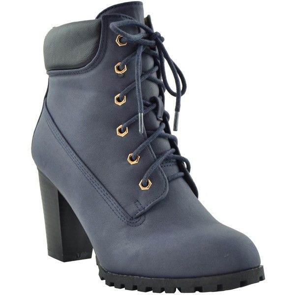 Womens Ankle Boots Rugged Lace Up High Heel Booties Navy Sz 5 28