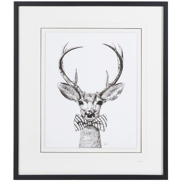 Stag With Bow Tie Framed Picture (9,540 DOP) ❤ liked on Polyvore