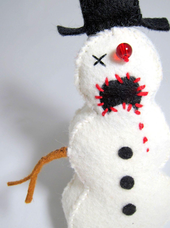 Zombie Snowman Ornament | Creepy Christmas | Pinterest | Christmas ...