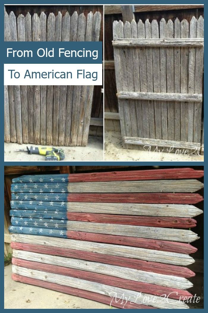 This DIY'er used old fencing to create a beautiful, rustic, wooden American Flag.                                                                                                                                                                                 More