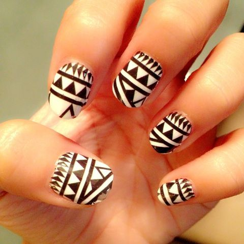 We love these black and white, tribal nails!