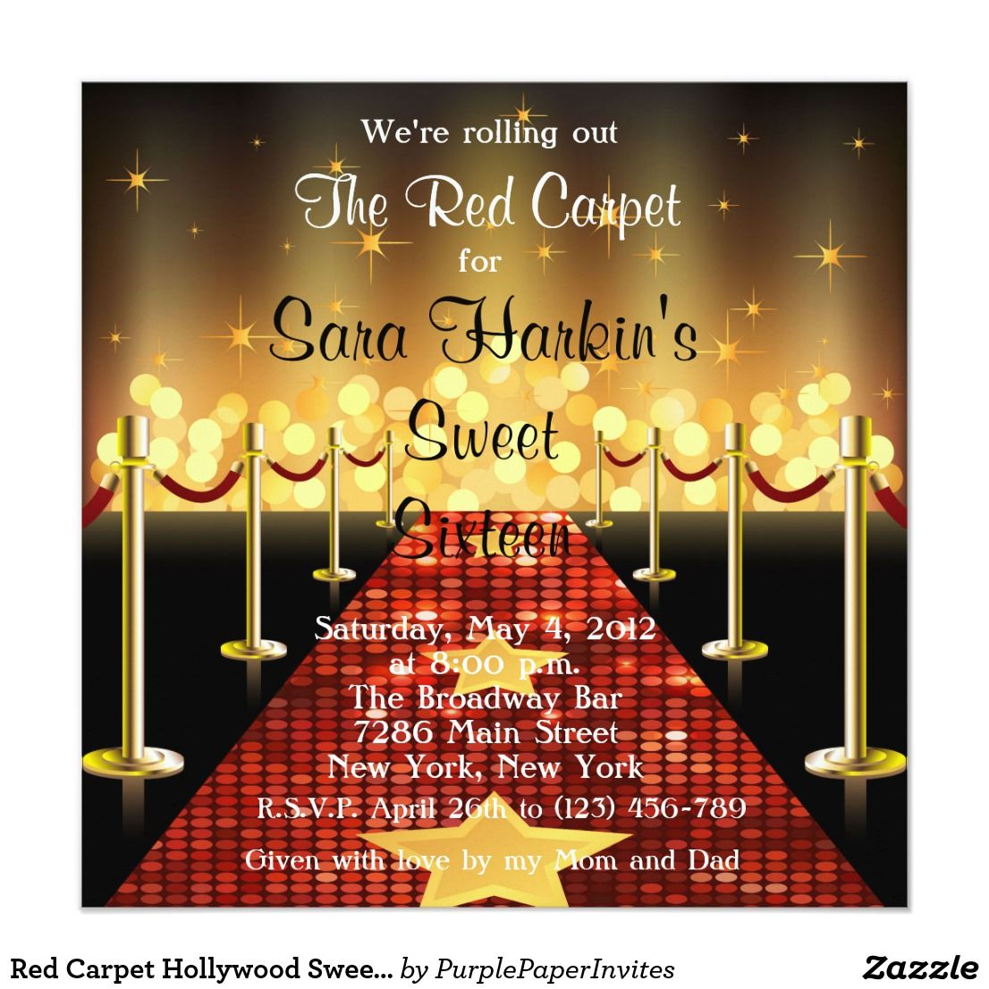 Red Carpet Hollywood Sweet 16 Birthday Invite Pink Party Custom Announcements Great For A 30th 40th 50th 60th 70th And 75th